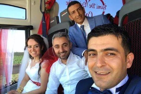 Amasya'da yolcu otobüsü gelin arabası oldu