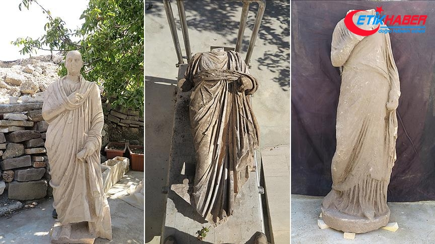 Side Antik Kenti'ndeki kazılarda 3 heykel bulundu