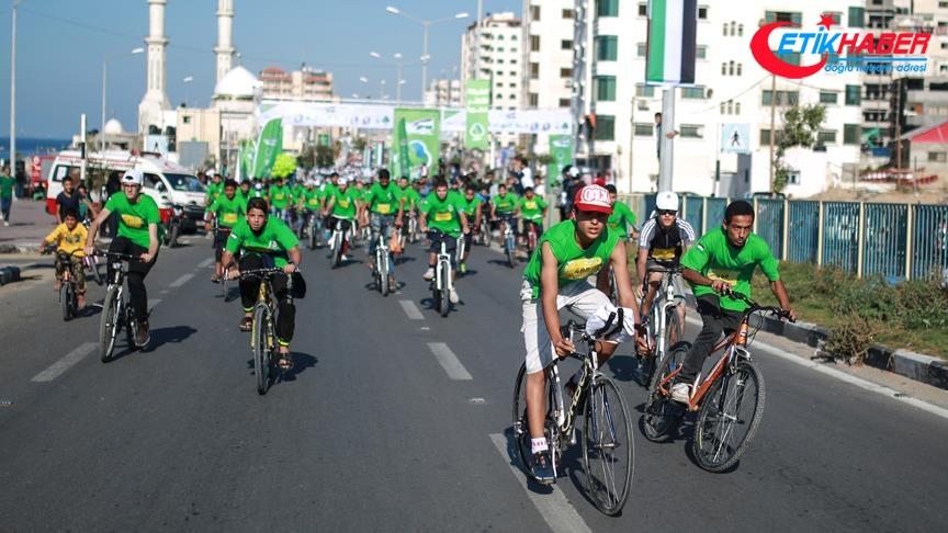 Gazze'de uzlaşıya destek için bisiklet ve koşu etkinliği düzenlendi