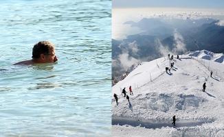 Antalya'da kar ve deniz keyfi bir arada