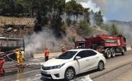 Antalya-Isparta karayolunda otobüs yandı