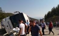Sinop'ta yolcu otobüsü devrildi: 2'si ağır 15 kişi yaralandı