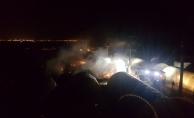 Mardin'de güvenlik güçlerinin kaldığı çadır kentte yangın