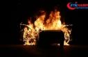 Yeni aldığı otomobil test ederken yandı