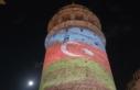 Galata Kulesi'nde Azerbaycan için ışıklandırma...