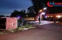 Mersin'de polisleri taşıyan midibüs devrildi:...
