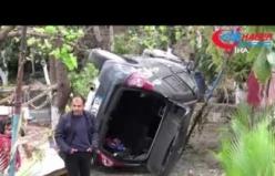 Otomobil bahçeye düştü, ev sahibi uçak sandı