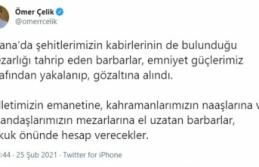 """Ömer Çelik: """"Mezarlara el uzatanlar hukuk önünde hesap verecek"""""""