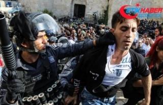 Kudüs'te protesto gösterisine İsrail polisinden...