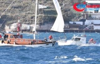 Muğla'da fırtınanın sürüklediği teknedeki...