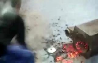 Polis uyuşturucuyu yanan sobadan aldı