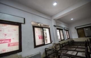 Azez'de teröristlerin tahrip ettiği hastane...