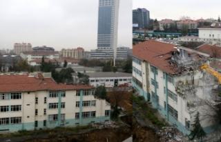 Uçurumun kenarındaki okul binasının yıkımına...