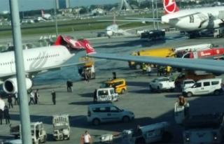 Atatürk Havalimanı'nda uçağın kanadı kuyruğa...