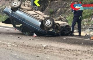Freni patlayan otomobil devrildi; 1 ölü 4 yaralı