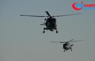 Suudi Arabistan'da askeri helikopter düştü:...