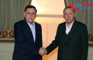 Cumhurbaşkanı Erdoğan, Fayez Mustafa Al-Sarraj'ı...