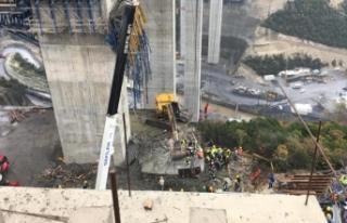 Otoyol çalışmasında beton blok düştü