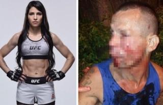 Kadın dövüşçü, kendisini gasp etmek isteyen...