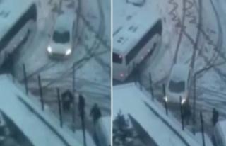 Başakşehir'de kar kazası kamerada