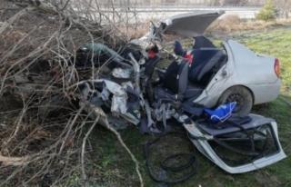 Çorum'da yoldan çıkan otomobil ağaca çarptı:...