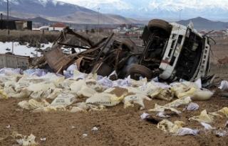Freni boşalan kamyonu tarlaya sürdü, faciayı önledi