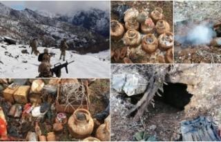 PKK'lı teröristlerin kullandığı 9 barınak...