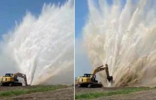 Boru patladı, su metrelerce yükseğe fışkırdı