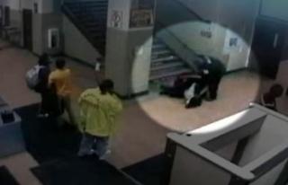 Polisler, kız öğrenciyi merdivenden sürükleyip,...
