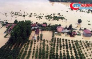Samsun'da sağanak ev ve tarım arazilerini su...