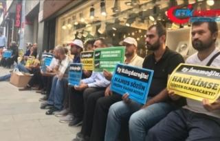 İBB'de işten çıkarılanlar CHP önünde oturma...