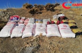 Teröristlere ait 650 kilogram yaşam malzemesi ele...