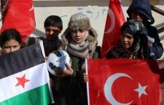 Barış Pınarı Harekatı bölgesinde çocukların...