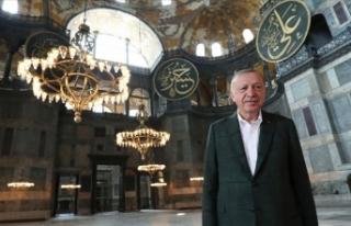 Cumhurbaşkanı Erdoğan Ayasofya Camisi'nde...