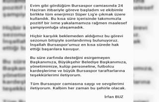 İrfan Buz'dan Bursaspor'a veda mesajı