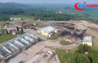 Sakarya'da patlamanın olduğu alandaki hasar...