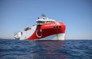 Oruç Reis gemisinin Doğu Akdeniz'deki çalışma...