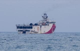 Oruç Reis gemisi Antalya Limanı'ndan ayrılarak...