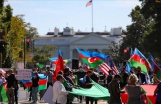 Beyaz Saray önünde Azerbaycan'a destek mitingi...