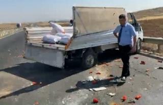 Biber yüklü kamyonet takla attı: 3 yaralı