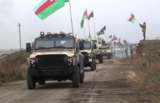 Azerbaycan ordusu işgalden kurtarılan Ağdam'a...