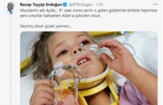 Cumhurbaşkanı Erdoğan'dan Ayda bebek için duygulandıran...