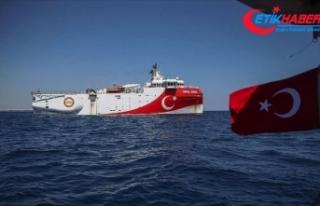 Oruç Reis'in Doğu Akdeniz'de çalışma...
