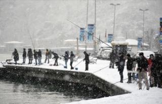 Balıkçılar kar yağışı altında İstanbul Boğazı'nda...
