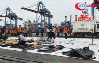 Endonezya'da düşen yolcu uçağına ait parçalar...