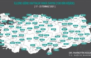 Her 100 bin kişide görülen Kovid-19 vaka sayısı...