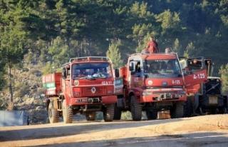 Mersin'deki orman yangınına 3. gününde havadan...