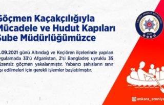 Başkentte 35 düzensiz göçmen yakalandı
