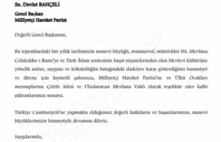 Uluslararası Mevlana Vakfı'ndan MHP Lideri Bahçeli'ye...