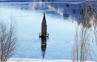 Donan barajda su çekildi cami minaresi ortaya çıktı